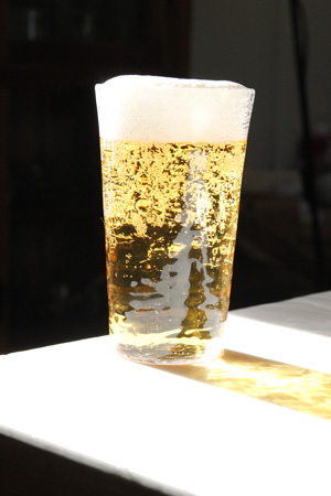 沖澤康平さんのReグラスでビール_e0205196_2341461.jpg