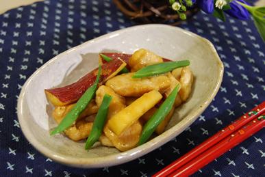 鶏と新さつま芋の炒め煮_c0124528_9563110.jpg