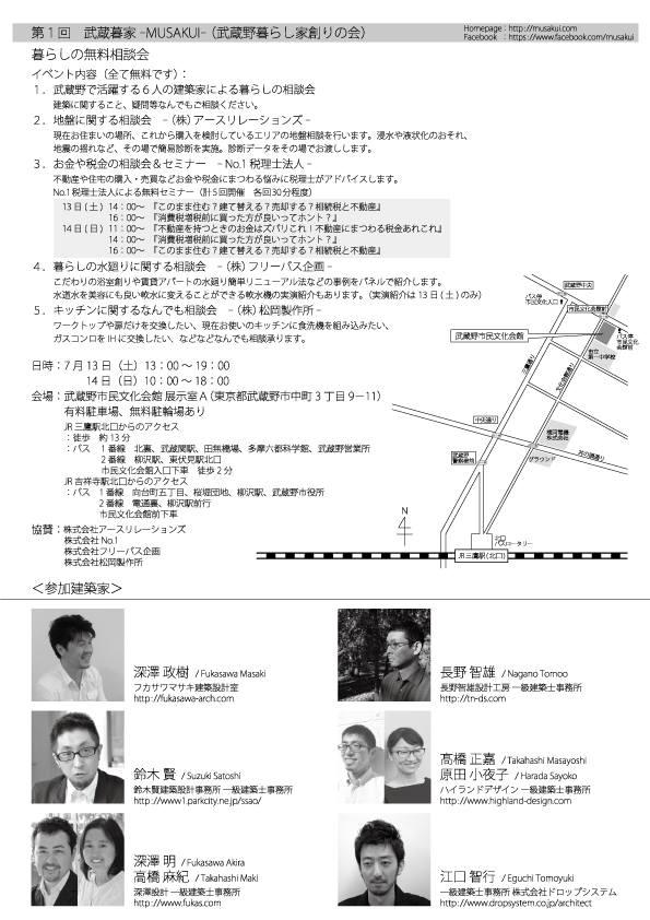 第1回武蔵暮家-MUSAKUI-暮らしの無料相談会_b0227217_1174064.jpg