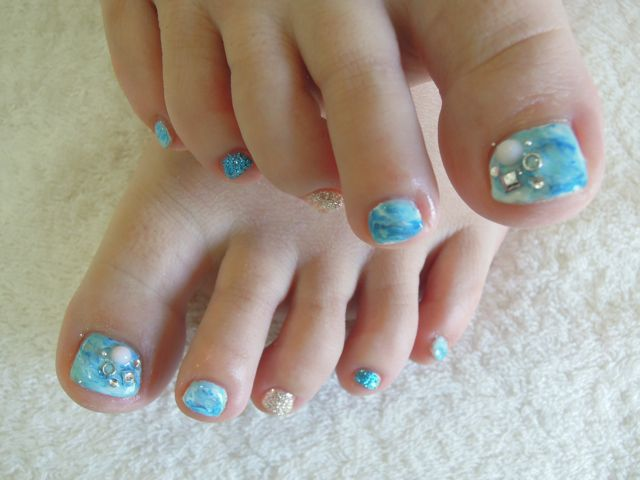 Bule Marble Nail_a0239065_14241024.jpg