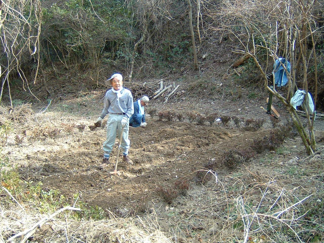孝子の森の畑造成&展望台にベンチ設置_c0239329_1291875.jpg