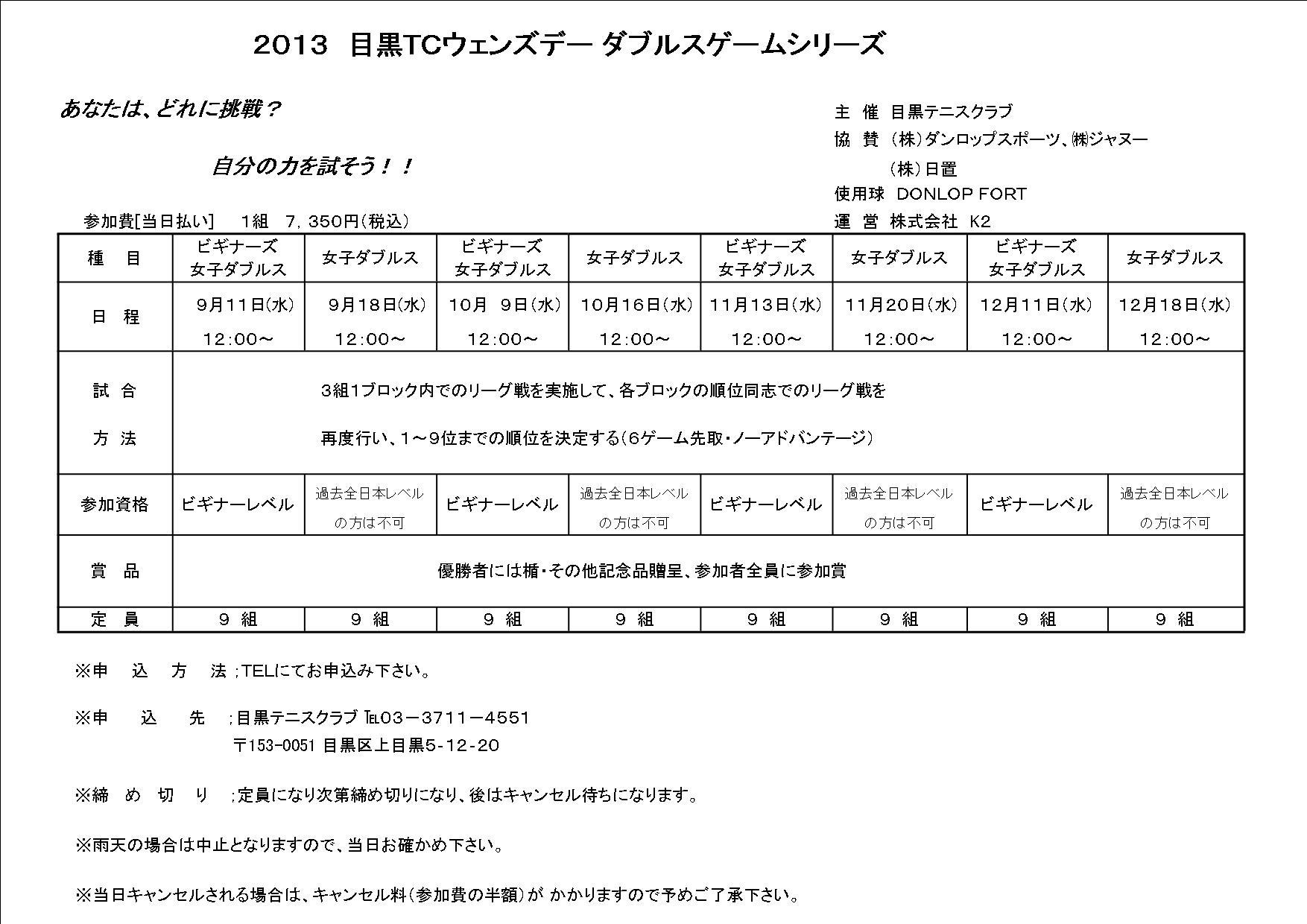 2013年9~12月ウェンズデーダブルストーナメント_b0158200_13555871.jpg