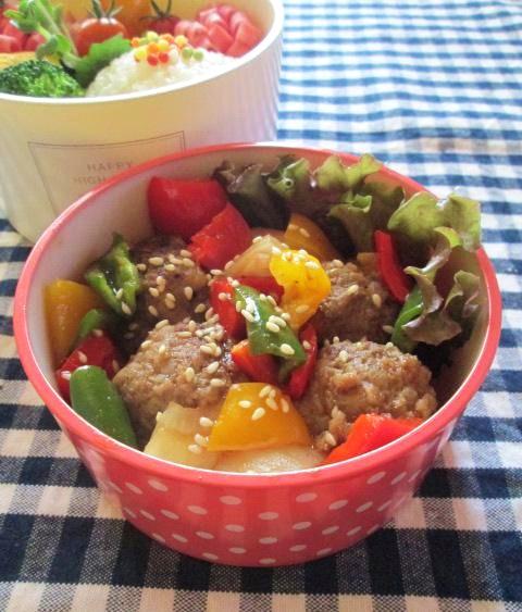 7.23 カラフル野菜と肉だんごの甘酢あん弁当 五色ぶぶあられ購入_e0274872_18584693.jpg