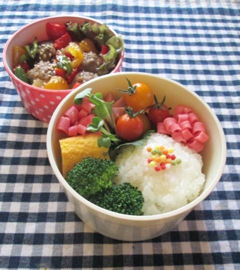 7.23 カラフル野菜と肉だんごの甘酢あん弁当 五色ぶぶあられ購入_e0274872_185867.jpg