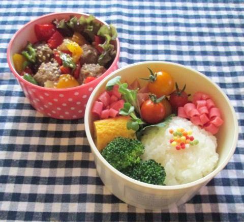 7.23 カラフル野菜と肉だんごの甘酢あん弁当 五色ぶぶあられ購入_e0274872_1944738.jpg