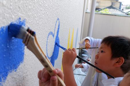壁画を描こう!「3びきのかめ・1まんねんのぼうけん」①_f0247351_727437.jpg