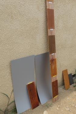 ガルバリウムと杉板塗装サンプルでお打ち合わせ_b0183404_165361.jpg