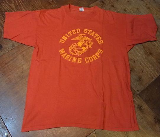 7/27(土)入荷!70-80'S ALL COTTON フロッキープリント U.S マリンコープ Tシャツ!_c0144020_13395041.jpg
