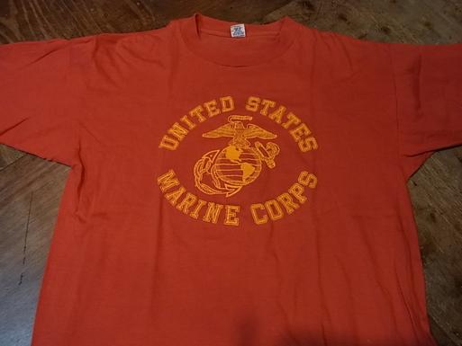7/27(土)入荷!70-80'S ALL COTTON フロッキープリント U.S マリンコープ Tシャツ!_c0144020_13395618.jpg