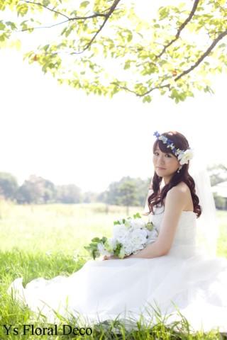 青いお花の花冠 ロケーション撮影に_b0113510_15411442.jpg