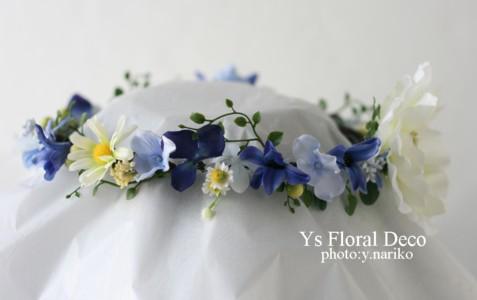 青いお花の花冠 ロケーション撮影に_b0113510_15413315.jpg