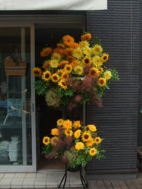 オークリーフ(ひまわりのスタンド装花)_f0049672_13104246.jpg