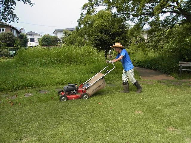 草地の草刈り(機械刈り)とエアレーション、目土まき_b0049307_16463141.jpg