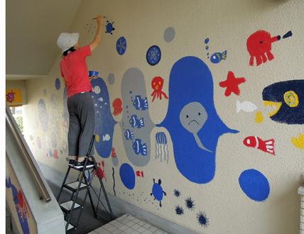 壁画を描こう!「3びきのかめ・1まんねんのぼうけん!」⑥_f0247351_8531153.jpg
