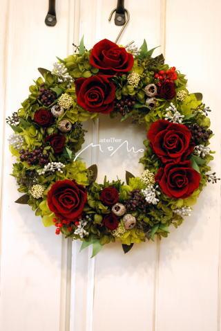還暦のお祝いに 赤バラのリース_a0136507_11173480.jpg