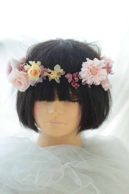 キュートピンクの花冠とリストブーケ ひらまつレゼルブ様へ_a0042928_1924382.jpg