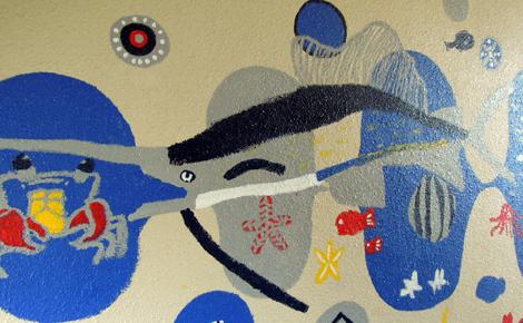 壁画を描こう!「3びきのかめ・1まんねんのぼうけん!」⑩_f0247351_1163467.jpg