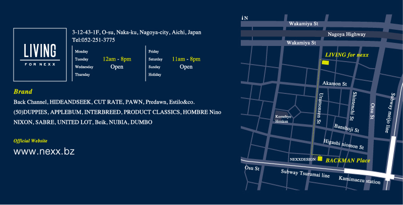 """2013.9.6(Fri) \""""BACKMAN Place\"""" Goes to \""""LIVING for nexx\"""" リニューアルオープン!!!_f0228575_19424250.png"""