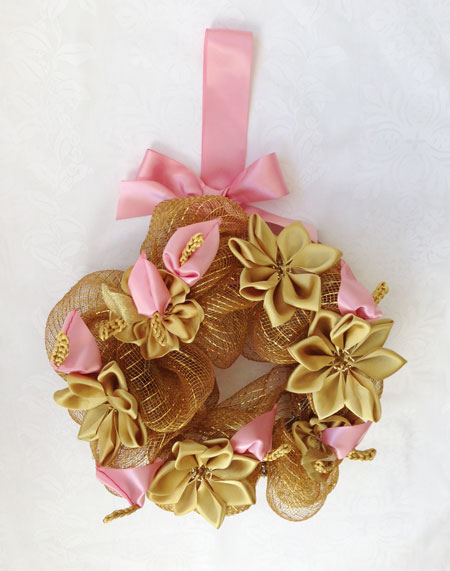 Golden Anthurium wreath ゴールデン アンスリウム リース_c0196240_17425097.jpg