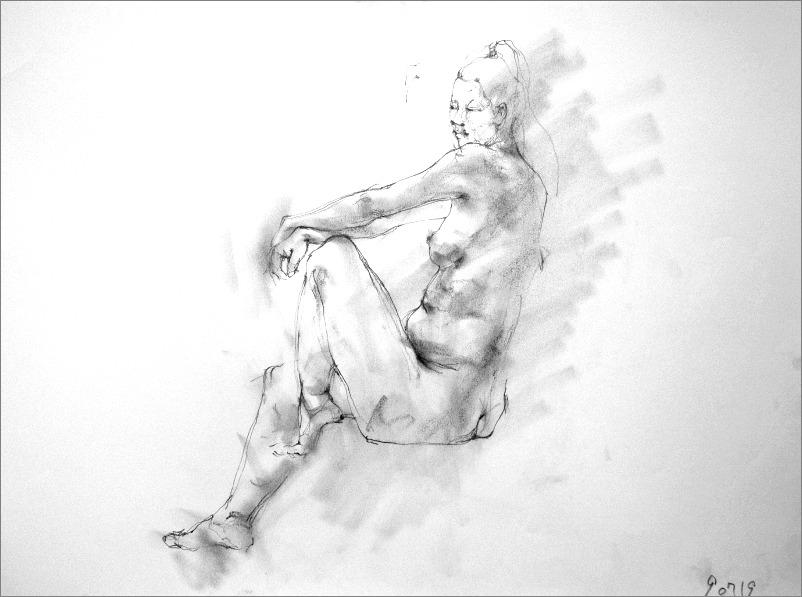《 クロッキー(croquis) ・・・ 片膝の上に両手を載せるポーズ 》_f0159856_17561453.jpg