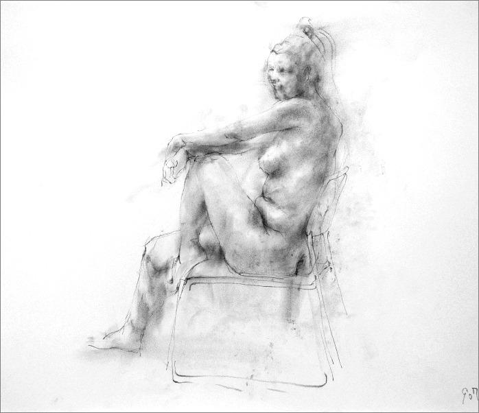 《 クロッキー(croquis) ・・・ 片膝の上に両手を載せるポーズ 3 》_f0159856_1885271.jpg