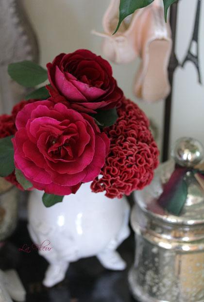 rose プリンスとふりふりケイトウ_f0127281_23515710.jpg