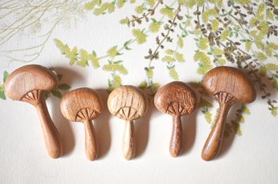 木製キノコブローチと布きのこ_d0263815_162954100.jpg