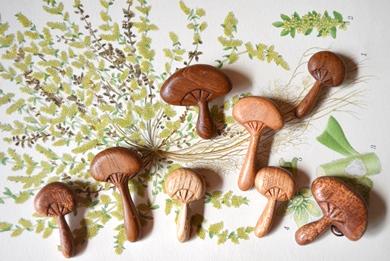 木製キノコブローチと布きのこ_d0263815_17572143.jpg