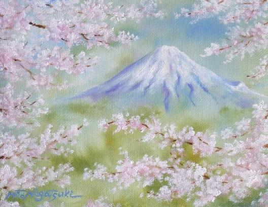 桜と富士山の油絵_b0089338_191264.jpg