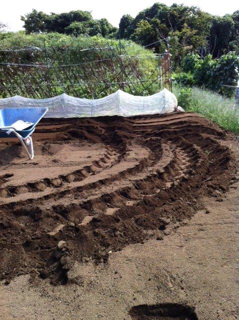 土を移動して水平に・・・トラクターでは限界があるんです_c0222448_143865.jpg