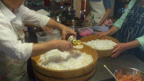 米山ガーデン料理教室「笹の押し寿司」。_d0182179_13142644.jpg