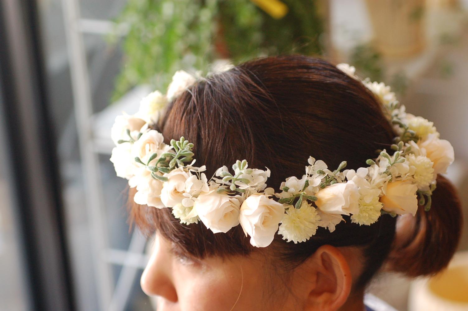 プリザーブドフラワーの花冠 ♫_a0060141_1483686.jpg
