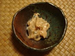 琉球料理乃山本彩香で、 しゃこ貝の豆腐よう漬_c0100865_6425542.jpg