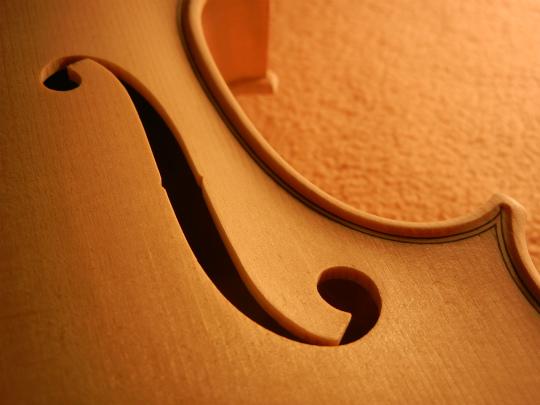 弦楽器フェアの展示ヴァイオリン、ホワイトで完成。_d0047461_642541.jpg