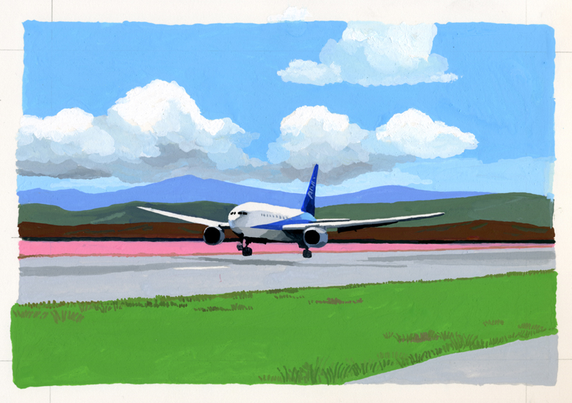 ANA機内誌翼の王国10月号吉田修一連載エッセイ「空の冒険」イラストレーション_c0075725_12533521.jpg