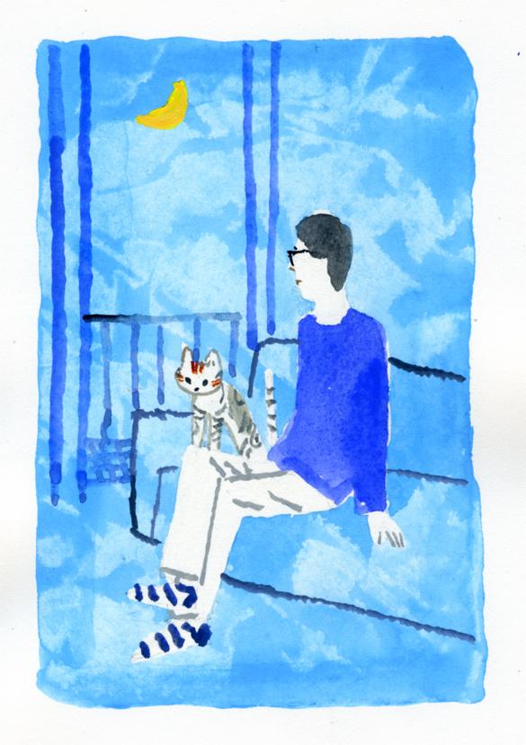 ANA機内誌翼の王国10月号吉田修一連載エッセイ「空の冒険」イラストレーション_c0075725_12535444.jpg