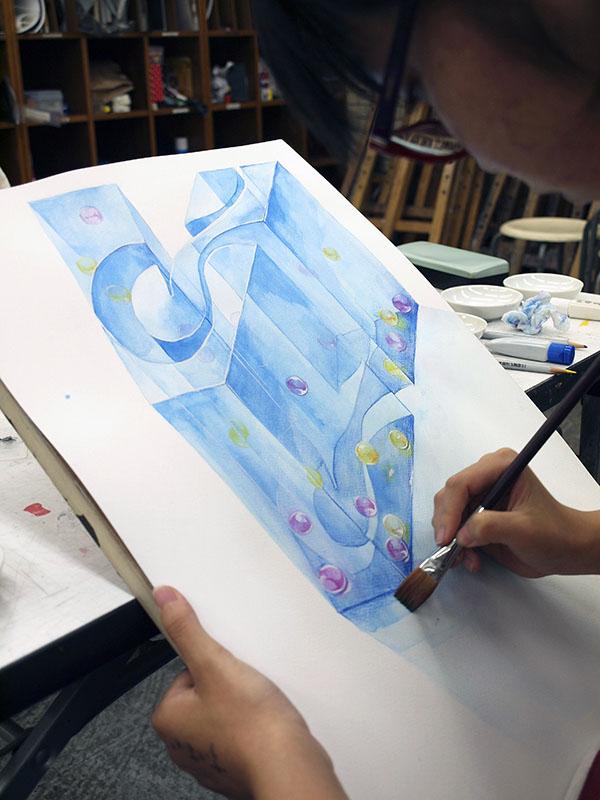 英文字の立体表現2と自然光のデッサン/デザイン・工芸科 私大コース_f0227963_935262.jpg