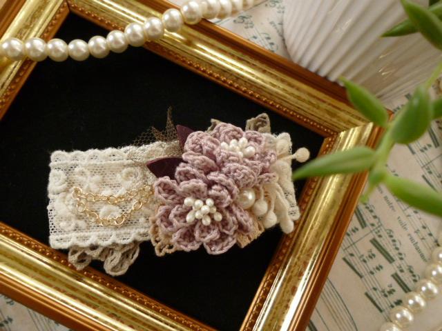 お花とチェーンのバレッタ*ミスティ・ピンク_f0254627_10314247.jpg
