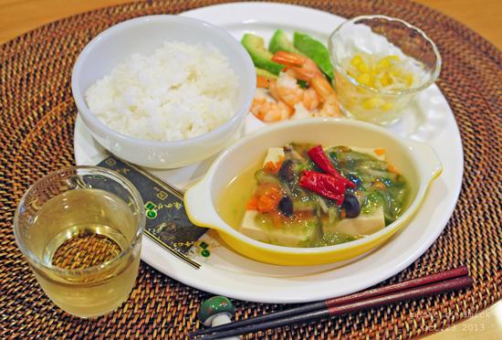 10月24日 木曜日 おむすび2種&高野豆腐の含め煮_b0288550_11593974.jpg