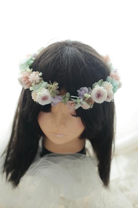 プリザーブドの花冠と手首の花飾り ニュアンスカラーで秋らしく ニューオータニ様へ_a0042928_1947559.jpg