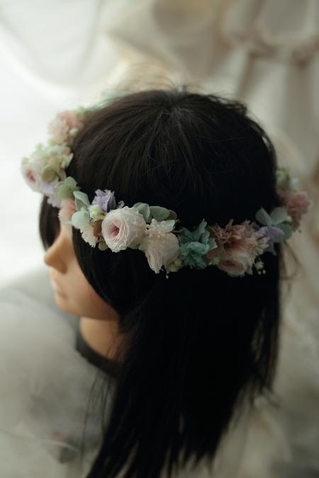 プリザーブドの花冠と手首の花飾り ニュアンスカラーで秋らしく ニューオータニ様へ_a0042928_19494377.jpg
