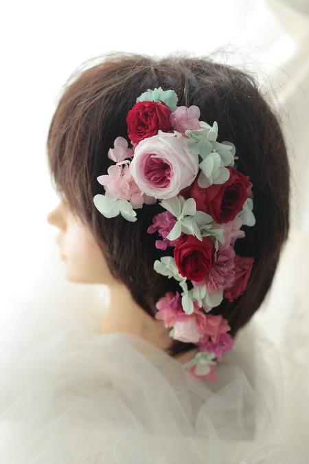 髪飾りの花鎖と4シェアブーケ セントジェームスクラブ迎賓館様へ_a0042928_1225438.jpg