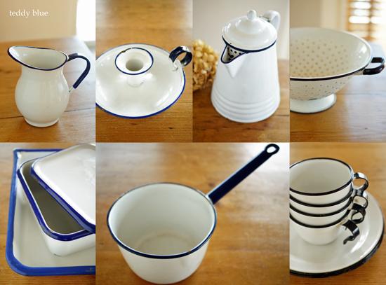 enamelware white w/blue  白とブルーのホーロー_e0253364_1144398.jpg