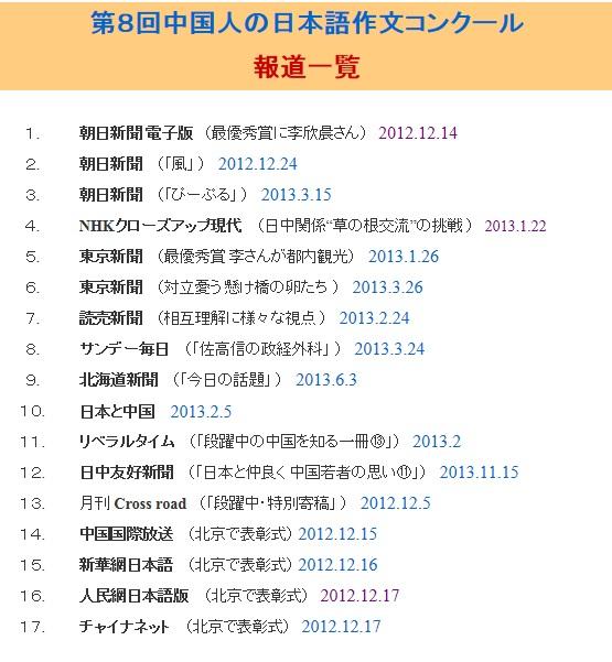 第8回中国人の日本語作文コンクール報道一覧をご高覧下さい_d0027795_1637186.jpg