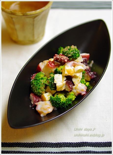 タコとブロッコリーとチーズの明太ソースあえ_f0179404_6493750.jpg
