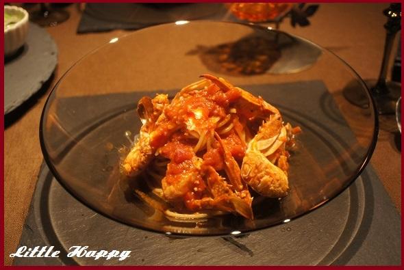 ワタリガニのトマトパスタと野菜整理メニュー_d0269651_1383354.jpg