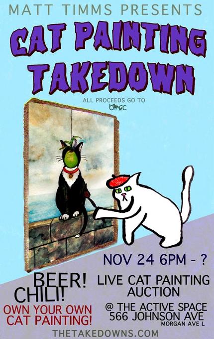 ニューヨークの猫好き&アート好きな方々向けの社会貢献イベント、Cat Painting Takedown_b0007805_12175741.jpg