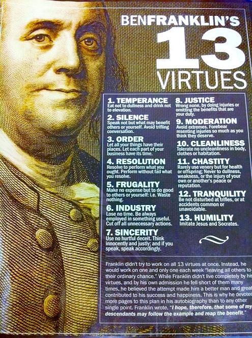 日米両国民が 共通の価値観で結ばれている理由 Benjamin Franklin\'s 13 Virtues_b0007805_21492275.jpg