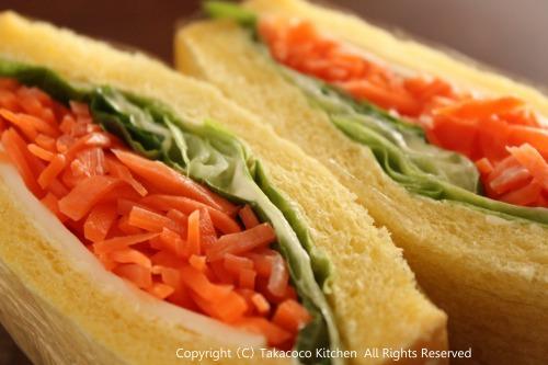 かぼちゃの角食で、にんじんとチーズのサンドイッチ!_a0165538_949630.jpg