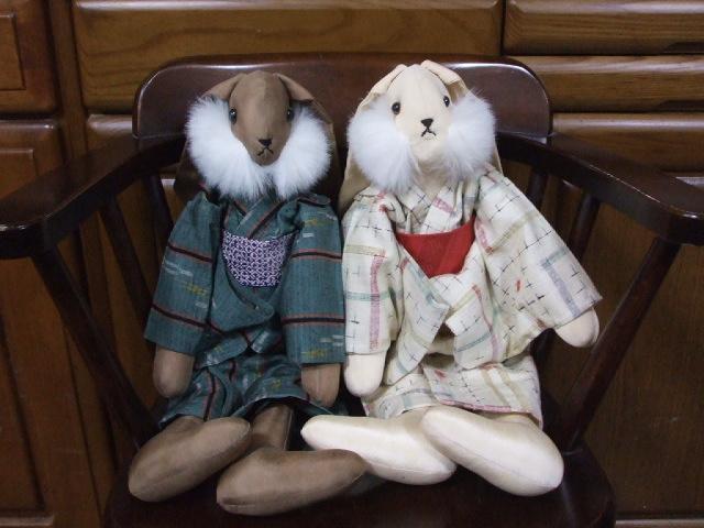 紬の着物を着たうさぎさん人形_f0019498_19171078.jpg
